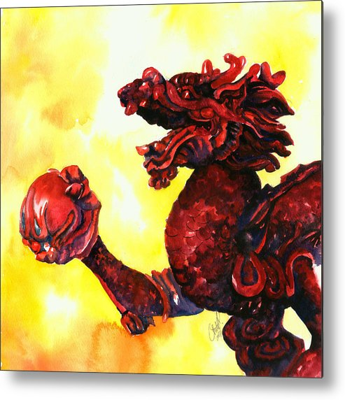 Asian Art Metal Print featuring the painting Imperial Dragon by Christy Freeman
