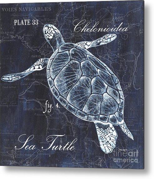 Turtle Metal Print featuring the painting Indigo Verde Mar 2 by Debbie DeWitt