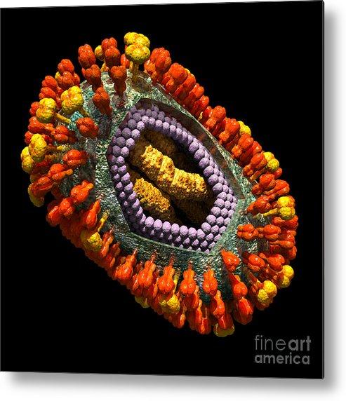 Biological Metal Print featuring the digital art Influenza Virus Cutaway 5 by Russell Kightley