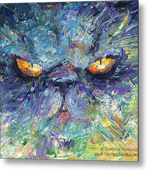 Russianartist Metal Print featuring the photograph Intense Palette Knife Persian Cat by Svetlana Novikova