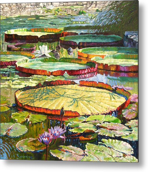 Garden Pond Metal Print featuring the painting Interwoven Beauty by John Lautermilch