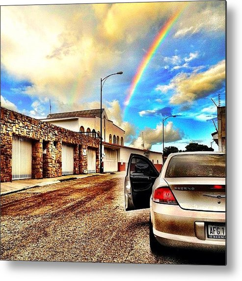 Popularpics Metal Print featuring the photograph #iphone # Rainbow by Estefania Leon