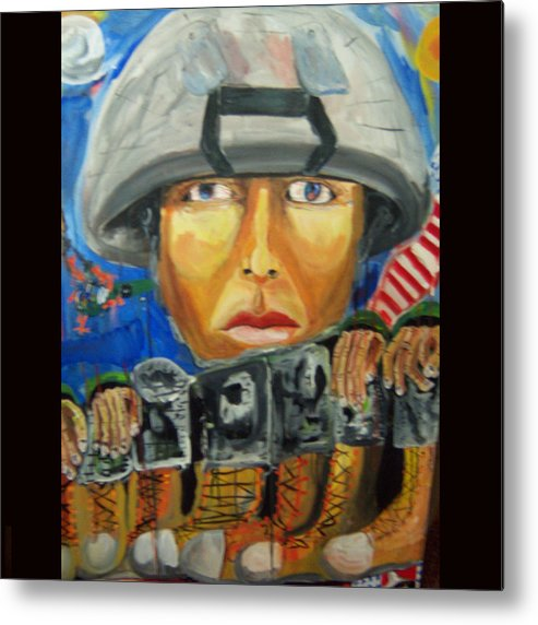 Soldier Metal Print featuring the painting Iraq Where The Young Became Old by Dominic Angarano