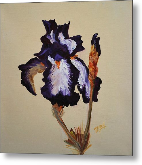 Floral Metal Print featuring the painting Iris Squared 1 by Marcy Silverstein
