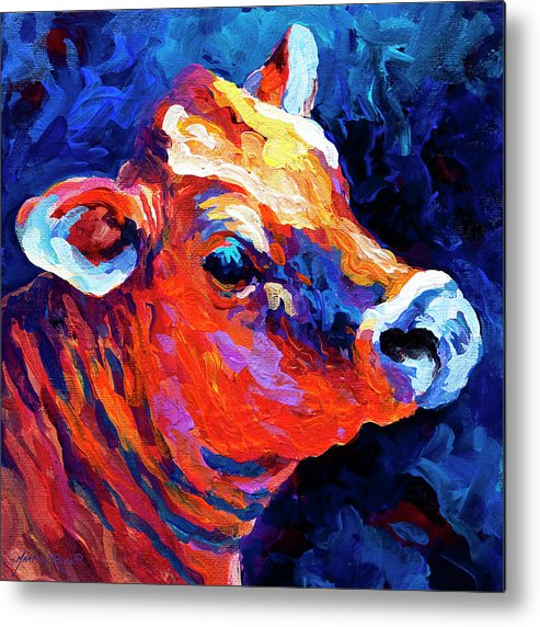 Cows Metal Print featuring the painting Jersey Girl by Marion Rose