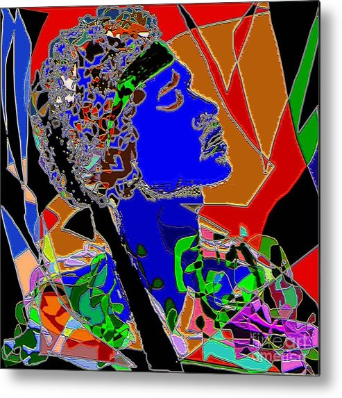 Portrait Metal Print featuring the painting Jimi In Heaven Colorful by Navo Art