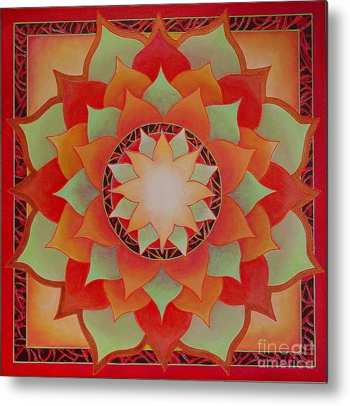 Mandala Metal Print featuring the painting Juicy Lotus by Charlotte Backman