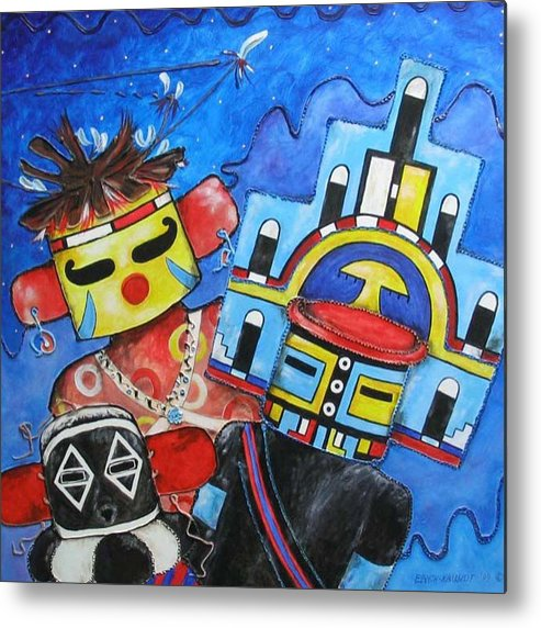 Native Metal Print featuring the painting Kachina Knights by Elaine Booth-Kallweit