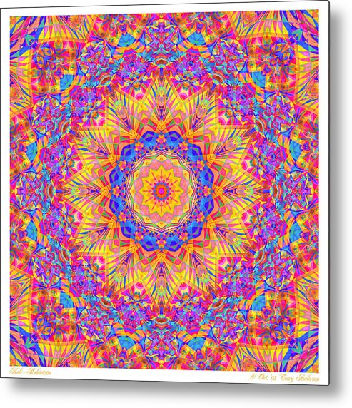 Mandala Metal Print featuring the digital art Kaleido - Rubiat 20a - Sq by Terry Anderson