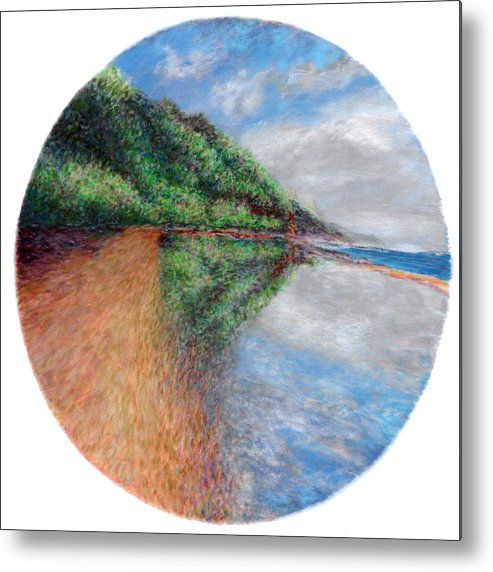 Rainbow Colors Pastel Metal Print featuring the painting Ke'e Tondo by Kenneth Grzesik