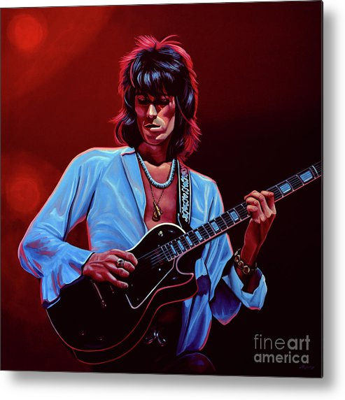 Keith Richards Metal Print featuring the painting Keith Richards The Riffmaster by Paul Meijering