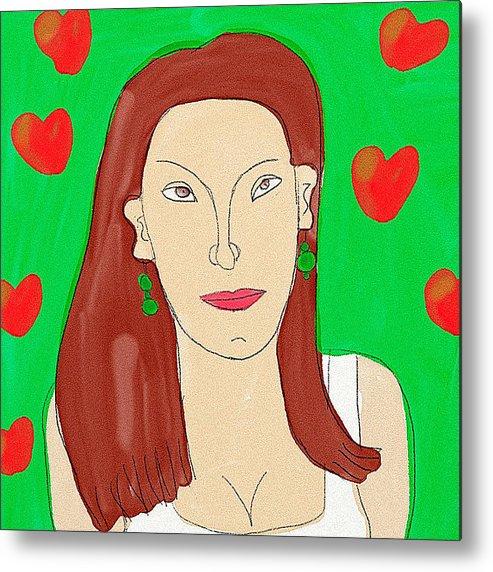 Lady Metal Print featuring the digital art Lady With Green Earrings. by Maciej Mackiewicz
