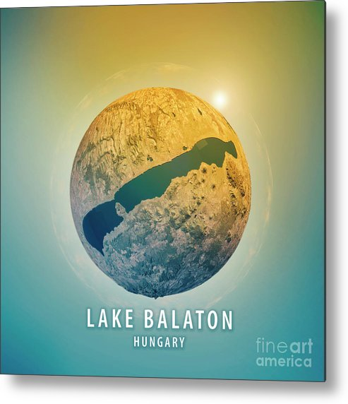 Lake Balaton Metal Print featuring the digital art Lake Balaton 3d Little Planet 360-degree Sphere Panorama by Frank Ramspott