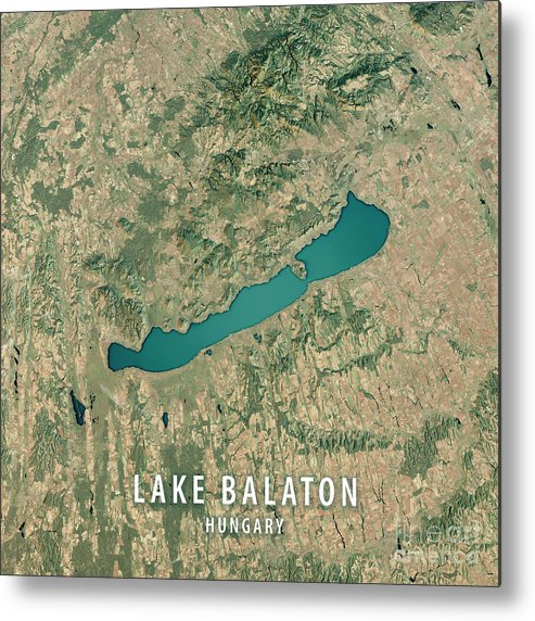 Lake Balaton Metal Print featuring the digital art Lake Balaton 3d Render Satellite View Topographic Map by Frank Ramspott