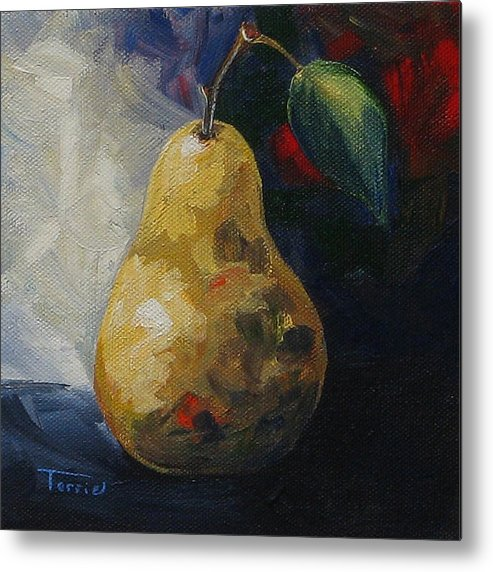 Pear Metal Print featuring the painting Leftover Pear by Torrie Smiley