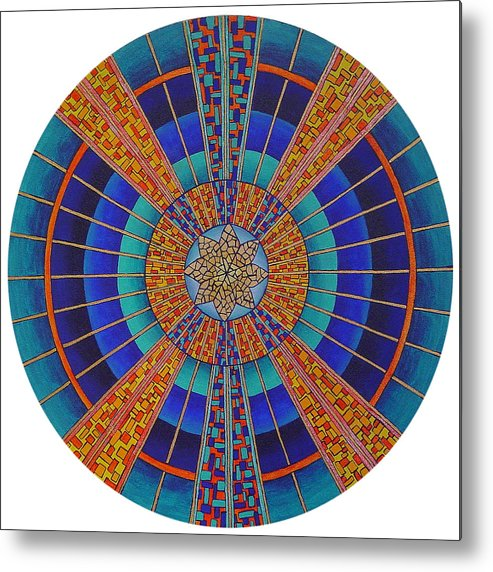 Mandala Metal Print featuring the painting Light Of Knowing by Charlotte Backman