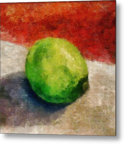 Lime Metal Print featuring the painting Lime Still Life by Michelle Calkins