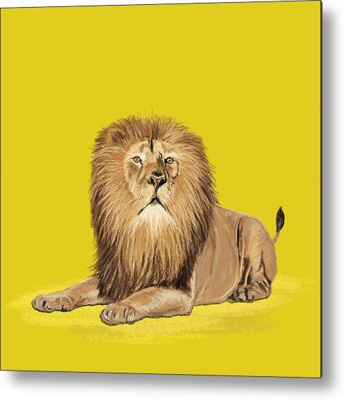 Africa Metal Print featuring the painting Lion Painting by Setsiri Silapasuwanchai