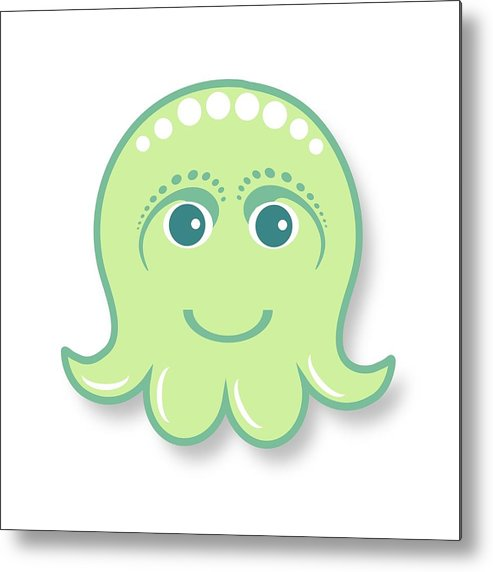 Little Octopus Metal Print featuring the digital art Little Cute Green Octopus by Ainnion