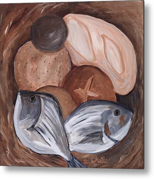 Biblical Metal Print featuring the painting Loaves And Fishes by Chelle Fazal