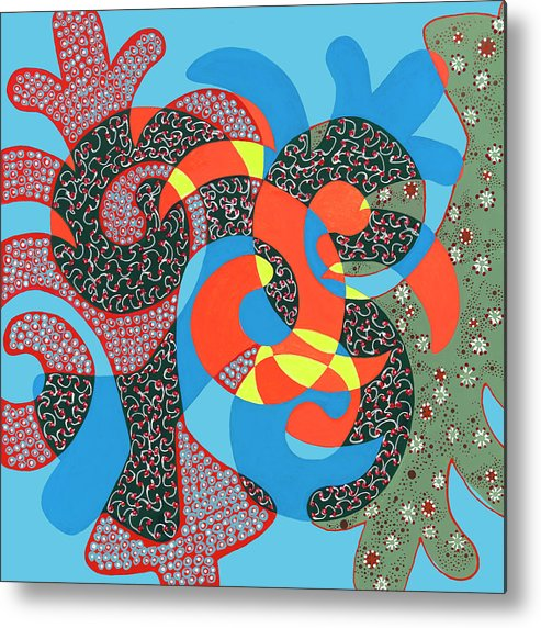 Abstract Metal Print featuring the painting Lobster Party by Louise Hankes