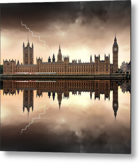 Architecture Metal Print featuring the photograph London - The Houses Of Parliament by Jaroslaw Grudzinski