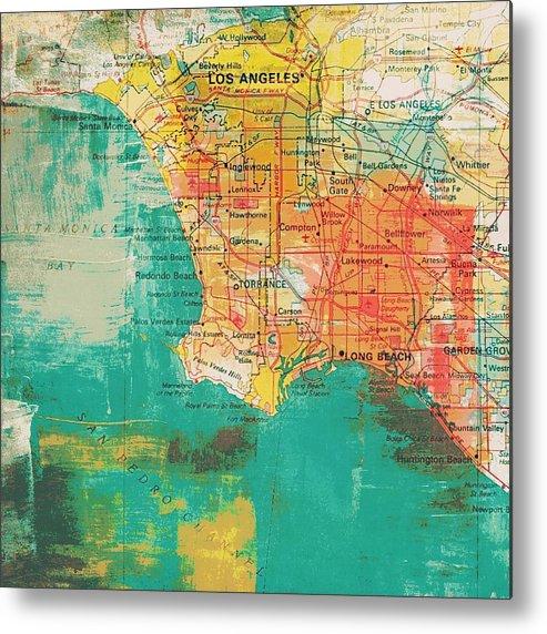 Brandi Fitzgerald Metal Print featuring the digital art Los Angeles Coast by Brandi Fitzgerald