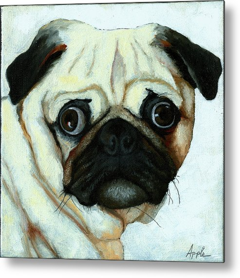 Dogs Metal Print featuring the painting Love At First Sight - Pug by Linda Apple