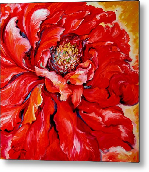Red Metal Print featuring the painting Love Is Forever Red Peony by Marcia Baldwin
