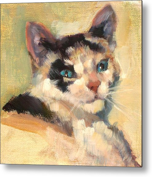 Cat Metal Print featuring the painting Luna by Merle Keller