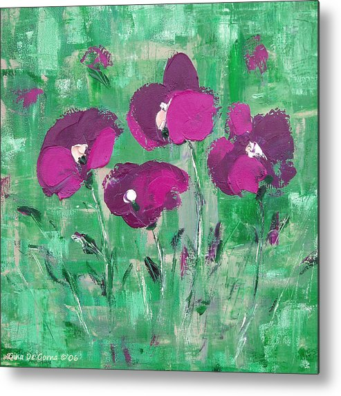 Magenta Metal Print featuring the painting Magenta Poppies by Gina De Gorna