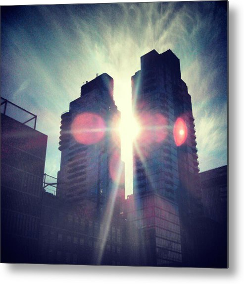 New York Metal Print featuring the photograph Man Vs Sun by William North