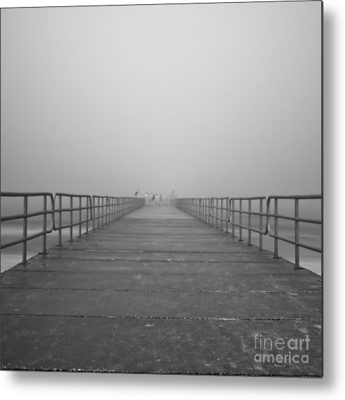 Infrared Metal Print featuring the photograph Manatee Beach Pier In Fog Infrared 39 by Rolf Bertram
