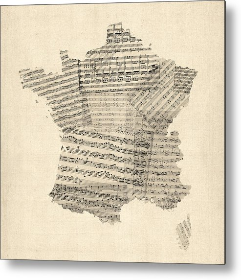 France Map Metal Print featuring the digital art Map Of France Old Sheet Music Map by Michael Tompsett
