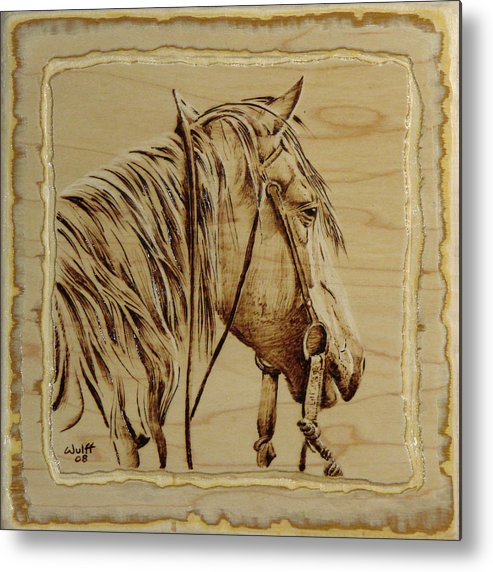 Horse Metal Print featuring the pyrography Maple Horse by Chris Wulff