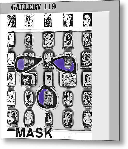 Mask Metal Print featuring the drawing Mask Post Card by Noredin Morgan