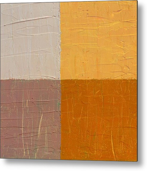 Abstract Metal Print featuring the painting Mauve And Peach by Michelle Calkins