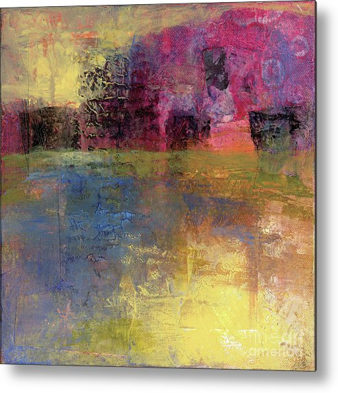 Abstract Metal Print featuring the painting Meditation Place by Melody Cleary