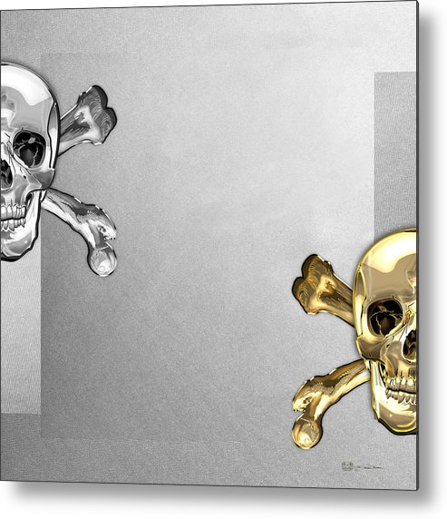 'visual Art Pop' Collection By Serge Averbukh Metal Print featuring the digital art Memento Mori - Gold And Silver Human Skulls And Bones On White Canvas by Serge Averbukh