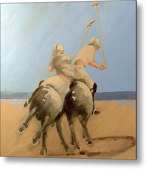 Equestrian Sports Polo Metal Print featuring the painting Miami Beach Polo by Jea DeVoe