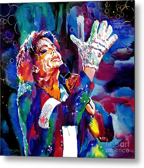 Michael Metal Print featuring the painting Michael Jackson Sings by David Lloyd Glover