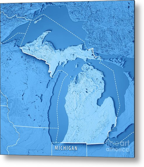 Michigan State Usa 3d Render Topographic Map Blue Border Metal Print