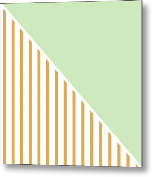Mint Metal Print featuring the digital art Mint And Gold Geometric by Linda Woods