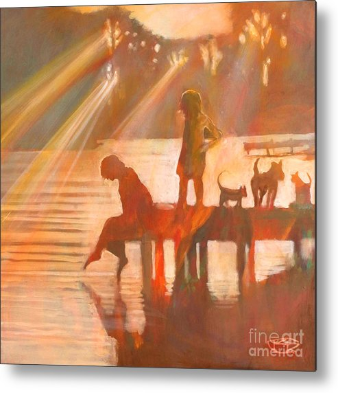Children Metal Print featuring the painting Mom Says You Gotta Come Now by Kip Decker