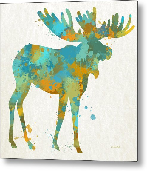 Moose Metal Print featuring the mixed media Moose Watercolor Art by Christina Rollo