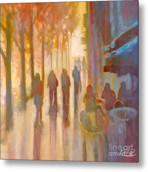 Sidewalk Metal Print featuring the painting Morning Coffee by Kip Decker