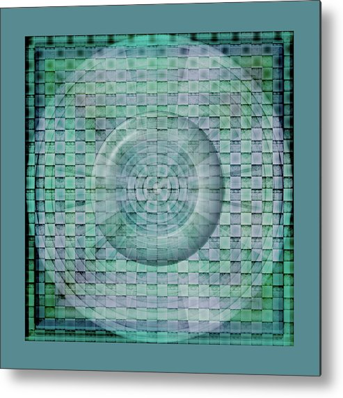 Aqua Metal Print featuring the digital art Mosaicea In Blue by Andy Young