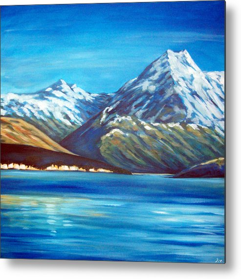 Nz Metal Print featuring the painting Mt Cook New Zealand by Ira Mitchell-Kirk