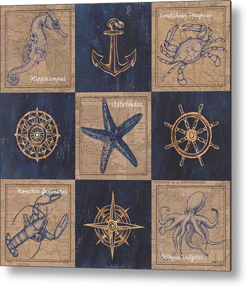 Seahorse Metal Print featuring the mixed media Nautical Burlap by Debbie DeWitt