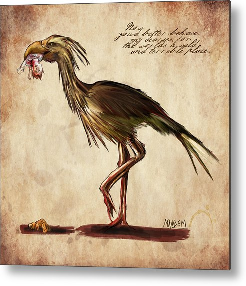 Fantasy Metal Print featuring the drawing Never Bird by Mandem